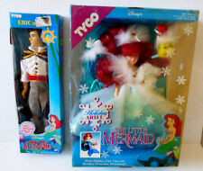 Set Of 2 Disney Tyco The Little Mermaid Holiday Ariel Doll & Eric Action Figures