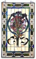 "32"" x 20"" Floral Boquet Tiffany Style Stained Glass Window Panel w/ Chain"