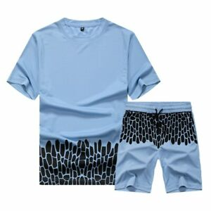 Casual Men T Shirts+Shorts Sets Summer Solid Sports Suit Two Piece Sportswear
