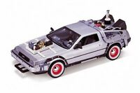 Back to the Future III DeLorean Time Machine Silver Welly 22444W/24 1/24 Diecast