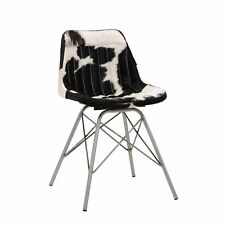 Stuhl Clint black cow leather chair no arms