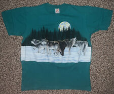 Vintage 1991 Wolf T Shirt Made In Usa Large Blue Jerzees Big Logo Animal Earth