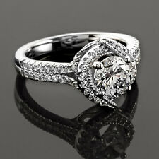 Halo Double Row 1.10 Carat Natural Round Diamond Engagement Ring 14K White Gold