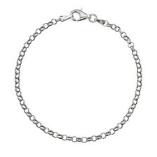Round Rolo Cable Link Chain Anklet Solid 925 Sterling Silver 3.2mm Italian