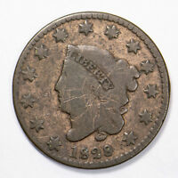 1828 CORONET HEAD 1c LARGE CENT - WIDE DATE Lot#B148