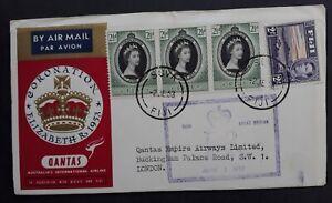 1953 Fiji QANTAS Coronation of QE2 FDC ties 4 stamps canc Suva