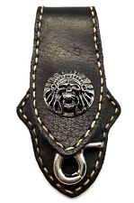 Biker Skull Trucker White Stitch  Black Leather Belt Clip Keychain Key Holder