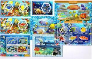 Fish, Marine x 8 Souvenir Miniature Sheets CTO Used