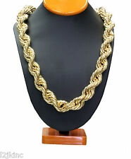 "14K Gold Plated Necklace Rope Chain 36"" Inch Length Thick 20mm"