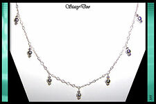 ** STERLING SILVER FACETED, BEADED DROP CHAIN NECKLACE (105)
