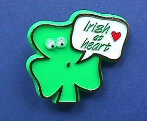 Carlton PIN St Patrick Vintage SHAMROCK Googly Eyes At Heart Irish Holiday