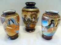 LOT 3 VINTAGE Japan MORIAGE Porcelain VASES Immortals JAPANESE Man & Woman