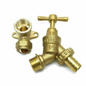 Garden Tap Outside Tap Kit With Brass Wall Plate Elbow or PTFE