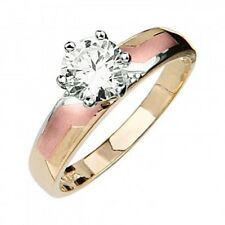 14K Solid Tri-color Gold Simulated Diamond Solitaire Engagement Ring