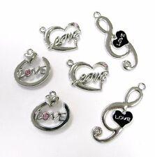 Love Heart Music Note Charms Rhinestone DIY Jewelry Making Scrapbook 10 pcs