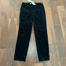 BNWT Robell Bella Black Needlecord Pull On Black Slim Fit Trousers 38R UK 12