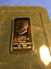 John Kennedy 24k Gp Bronze Ingot Danbury Mint Presidential