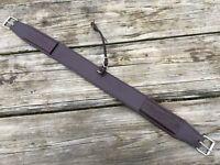 Basket stamped dark oil leather Western saddle flank/rear cinch center strap