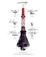 MERCURY CAPSULE MISSION INSIGNIA SIMULATED AUTOGRAPHS - 8X10 NASA PHOTO (AA-168)