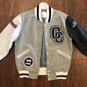 OPENING CEREMONY Size XL Gray & White Leather Wool Varsity Jacket Vintage Men's