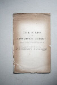 The Birds of the Stonyhurst District by J.Weld et al. 1888 (Stonyhurst Mag.)