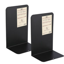 1 Pair Bookends, Heavy Duty Metal Black Bookend Support with Non-Skid Base