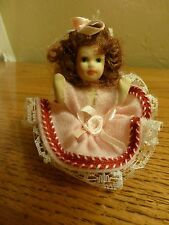 """Vintage Small All Porcelain Sitting Doll Lace Dress Gown Curly Hair 3"""""""