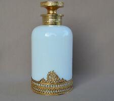 French Italian White Opaline & Brass Small Perfume Bottle Murano