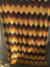 Vintage Gold Brown chevron Zig Zag Large hand knit Afghan Blanket Loyola
