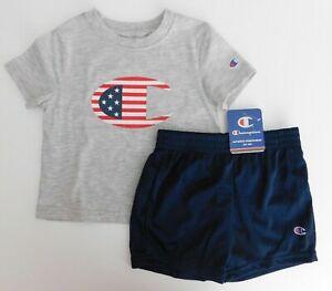 NWT Champion Baby Toddler Boy 2Pc Set Gray Logo Flag T-Shirt/Shorts 24M New