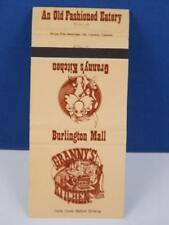 GRANNY'S KITCHEN BURLINGTON MALL ONTARIO MATCHBOOK VINTAGE ADVERTISING