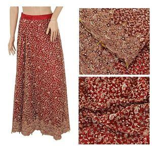 Sanskriti Vintage Dark Red Long Skirt Lehenga Net Mesh Hand Beaded Stitched Zari