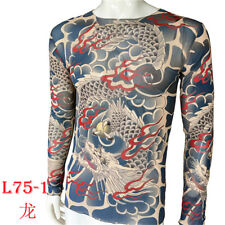 Unisex Long Sleeve fake Tattoo T-shirt Dragon Totem Tattoo Clothing Tops Plus Si