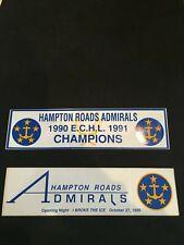 Vintage (2) Hampton Roads Admirals E.C.H.L. Hockey Unused Bumper Stickers