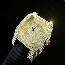 ICED OUT MEN'S WHITE GOLD FINISH ICE MASTER LAB DIAMOND SIMULATE SQUARE WATCH