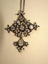 Belle croix de st Lô en argent et strass.XVIII°.Poinçon gobelet.Bijou régional.