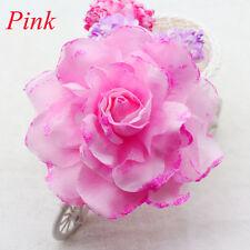 NEW 15CM Corsage Hairband Wrist Flower Wedding Party Prom Pink Rose Headdress