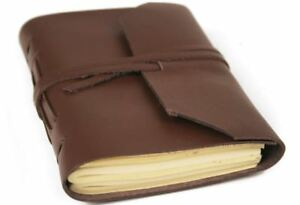 Indra Leather Journal Tan, Mini Plain Pages - Handmade by Life Arts