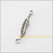 20Pcs Tibetan Silver Tone Leaf Feather Charms Pendants Connectors 4.5x24.5mm