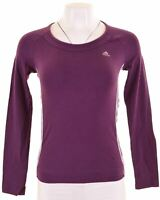 ADIDAS Womens Top Long Sleeve UK 8 Small Purple Cotton  FO07