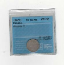 **1880H Obv.#2** CCCS  Graded Canadian,  10  Cent, **VF-30**