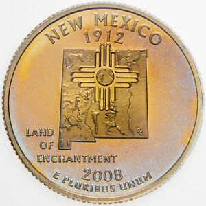 2008-S STATE QUARTER NEW MEXICO ICG PR69 DCAM UNC TONED COLOR LIGHT GOLDEN