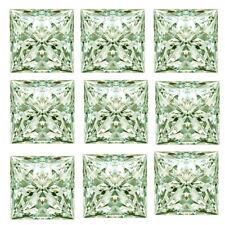 Princess Moissanite Diamond 4 Ring 6.40ct Vs1-9pc(0.80-1.00ct) Green White Loose