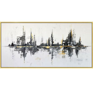 """Large Modern Simple Hand-painted oil painting Abstract city UNFRAMED 48"""""""