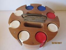 VINTAGE POKER CHIPS IN WOOD CADDY WITH COVER & 2 DECKS OF CARDS - FREE SHIPPING