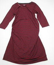 new LIZ LANGE MATERNITY #DR472 Women Size L 3/4 Sleeve Striped Red Bodycon Dress
