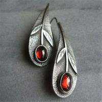 Retro 925 Silver Red Ruby Ear Hook Dangle Drop Leaf Earrings Women Proposal Gift