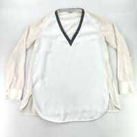 Vince Women's Silk V-Neck Top/Blouse w/ Leather Trim White/Ivory • Size 10