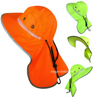 Men High Visibility Reflective Safety Neck Flap Sun Hat Wide Brim Boonie Hat Cap
