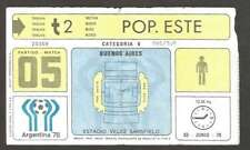 Argentina Soccer World Cup 1978 Ticket # 05 Used